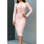 Lovely Chic Hollow-out Light Pink Knee Length Dres