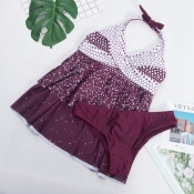 Lovely Casual Gradual Change Purple Swimdresses