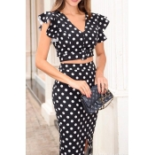 Lovely Sweet Dot Print Black Two-piece Skirt Set