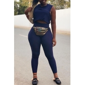 Lovely Casual Sleeveless Dark Blue Two-piece Pants