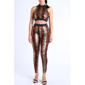 Lovely Casual Striped Multicolor Two-piece Pants S