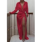 Lovely Leisure V Neck Red Maxi Dress