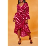 Lovely Casual Dot Print Red Mid Calf Plus Size Dre