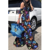 Lovely Chic Print Loose Black One-piece Jumpsuit