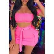 Lovely Chic Dew Shoulder Pink Two-piece Skirt Set