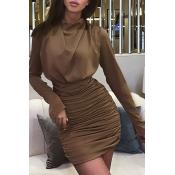 Lovely Chic Fold Design Brown Mini Dress