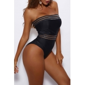 Lovely Mesh Patchwork Black One-piece Swimsuit