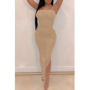 Lovely Sexy Asymmetrical Khaki Mid Calf Dress