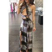 Lovely Chic Hollow-out Print Grey Ankle Length Dre