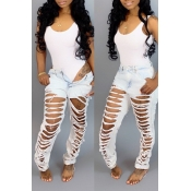 Lovely Chic Hollow-out White Jeans