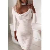 Lovely Sweet Fold Design White Mini Dress