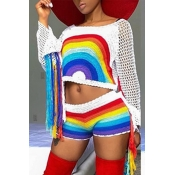 Lovely Chic Rainbow Red Two-piece Shorts Set