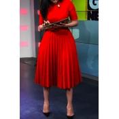Lovely Casual O Neck Fold Design Red Knee Length D