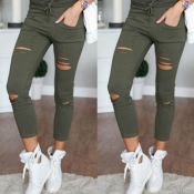 Casual Hollow-out Skinny Green Pants