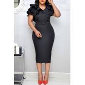 Lovely Sweet V Neck Flounce Black Knee Length Dres