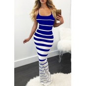 Lovely Chic Striped Skinny Blue Maxi Dress