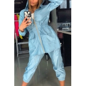 Lovely Chic Hooded Collar Loose Baby Blue Two-piec