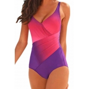 Lovely Print Rose Red Plus Size One-piece Swimsuit
