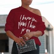 Lovely Chic Letter Print Wine Red T-shirt