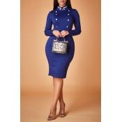 Lovely Work Mandarin Collar Dark Blue Knee Length