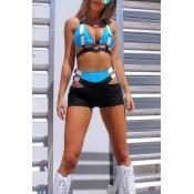Lovely Chic Basic Blue Two-piece Shorts Set