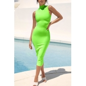 Lovely Casual Tank Skinny Green Mid Calf Dress