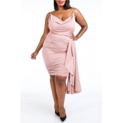 Lovely Chic Fold Design Light Pink Knee Length Plu
