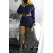 Lovely Trendy Hooded Collar Dark Blue Two-piece Sk