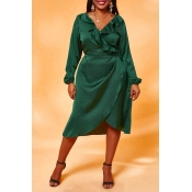 Lovely Chic Flounce Design Army Green Knee Length