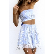 Lovely Chic Dew Shoulder Baby Blue Two-piece Skirt Set