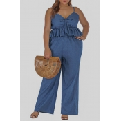 Lovely Casual Flounce Blue Plus Size Two-piece Pan