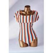Lovely Striped Multicolor One-piece Swimsuit