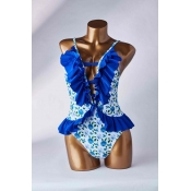 Lovely Flounce Blue One-piece Swimsuit