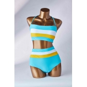 Lovely Striped Acid Blue Two-piece Swimsuit