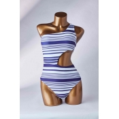 Lovely Striped Blue One-piece Swimsuit