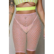 Lovely Trendy Hollow-out Pink Shorts