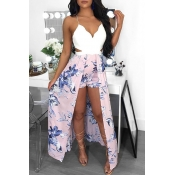 Lovely Chic Print Light Pink One-piece Romper