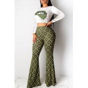 Lovely Casual  Print Green Two-piece Pants Set