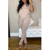 Lovely Casual Basic Light Pink Two-piece Pants Set