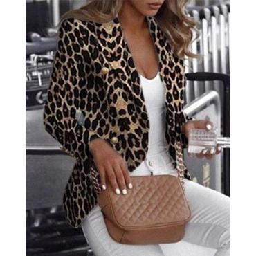 Lovely Casual Basic Leopard Print Khaki Blazer