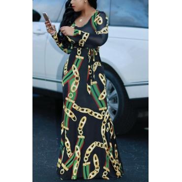 Lovely Chic Print Black Maxi Dress