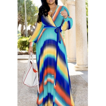 Lovely Sweet Striped Print Multicolor Maxi Dress