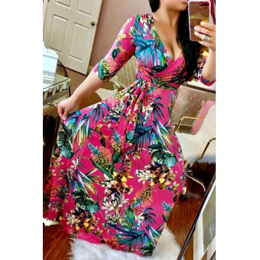 Lovely Chic Deep V Neck Floral Print Red Maxi Dress
