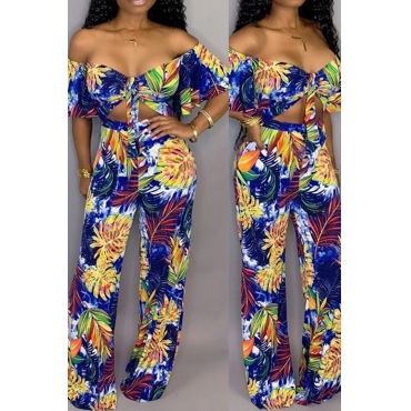Lovely Sexy Print Blue One-piece Jumpsuit