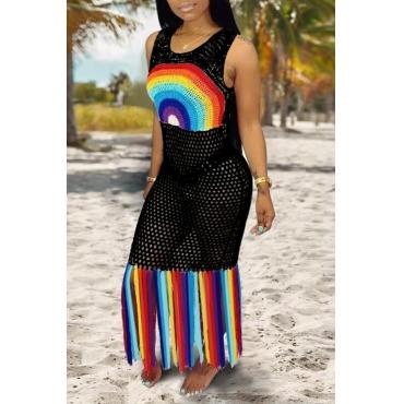 Lovely Patchwork Tassel Black Beach Dress