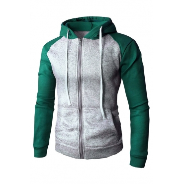 Lovely Casual Hooded Collar Patchwork Green Hoodie