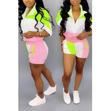 Lovely Chic Patchwork Pink Two-piece Shorts Set