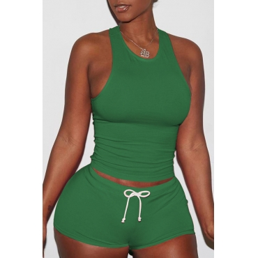 Lovely Casual Sleeveless Green Two-piece Shorts Set