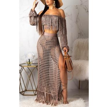 Lovely Bohemian See-through Coffee Beach Skirt Set