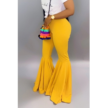Lovely Casual Skinny Yellow Bell-bottomed Pants
